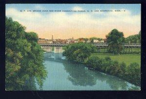 Fargo, ND-Moorhead, Minnesota/MN Postcard, N.P. Bridge Over Red River