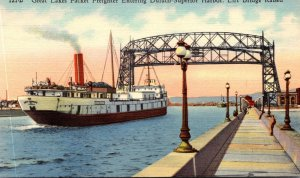 Minnesota Great Lakes Packet Freighter Entering Duluth-Superior Harbor Lift B...