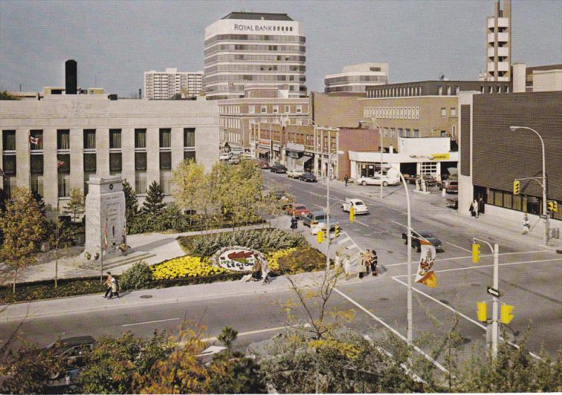 Aerial View, Downtown Area, Royal Bank, Floral Garden and War Memorial, KITCH...