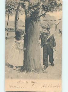 Pre-1907 foreign CUTE EUROPEAN GIRL HIDES FROM BOY BEHIND TREE J5052