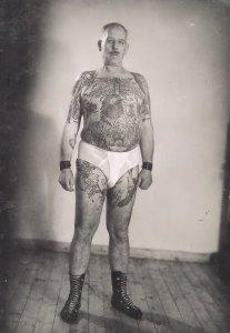 German 1960s Wild Animals Tattoo Tattoed Man In Y Fronts Postcard