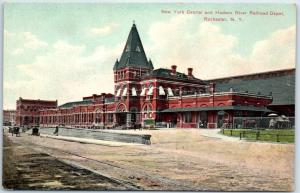 Rochester, NY Postcard New York Central & Hudson River Railroad Depot c1910s