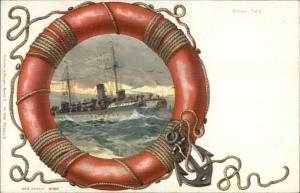Ship Hela Life Saving Ring Border Kutzner & Berger #1098 c1900 Postcard