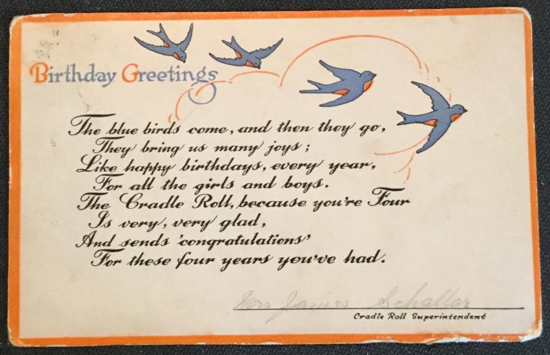 "Postcard Used ""Birthday Greetings"" Bluebirds LB"