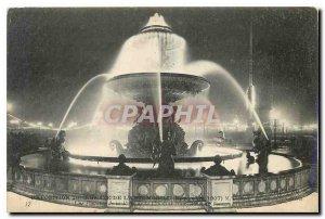 Old Postcard Exhibition Paris decennale automotive A fountain Place de la Con...