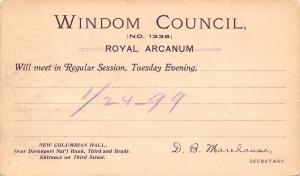 Davenport Iowa~Royal Arcanum~Windom Council~Nat'l Bank Bldg~1899 Postal