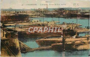 Old Postcard Cherbourg Arsenal Station Sub Marine Boats