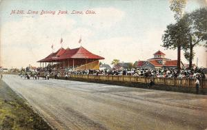Lima Ohio~Lima Driving Park Grandstand~Horse Harness Trotting Races~1910 PC