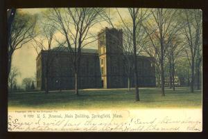 Springfield, Massachusetts/MA/Mass Postcard, US Arsenal Main Building, 1907!