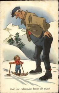 French Skiing Comic Large Man & Little Boy Postcard