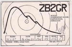 QSL, ZB2GR, Gibraltar, 1982