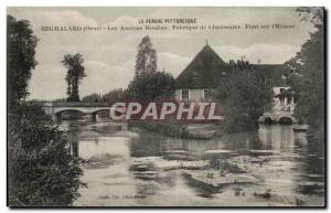 Old Postcard Remarlard Former shoe factory mills bridge on Huisne