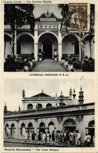 PC CPA MOZAMBIQUE, LOURENCO MARQUES, CHINESE PAGODA, VINTAGE POSTCARD (b20747)