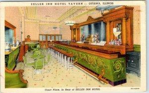 Ottawa, Illinois Postcard SELLER INN HOTEL TAVERN Bar View Curteich Linen c1940s