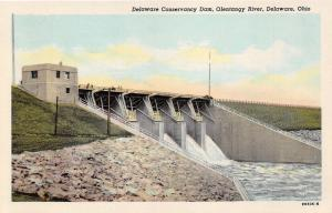 Delaware Ohio Conservancy Dam on Olentangy River~1949 News Shop Postcard