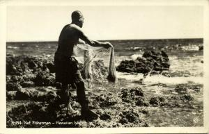 hawaii, Native Fisherman with Fishing Net (1940s) RPPC