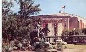 Fort Worth Texas 1950-60s Postcard Will Rogers Statue & Memorial Coliseum