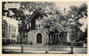 Mansfield Massachusetts~Stone Consruction Memorial Public Library~B&W 1940s PC