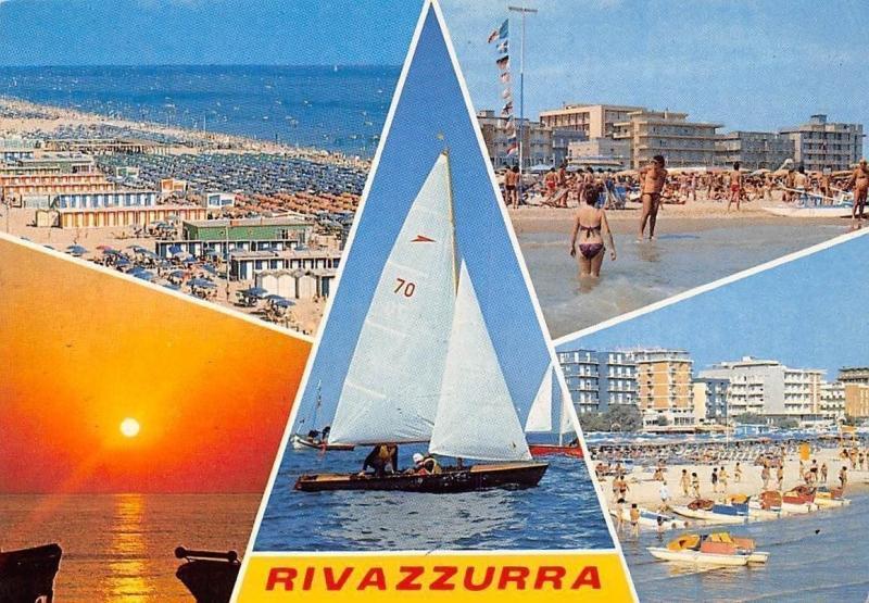 Italy Rivazzurra di Rimini, Spiaggia Beach Sunset Boats Bateaux Plage Panorama