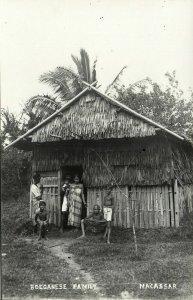 indonesia, CELEBES SULAWESI MAKASSAR, Buganese Family (1920s) RPPC Postcard