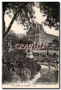 Paris Old Postcard Rohan pavilion and the Tuileries gardens