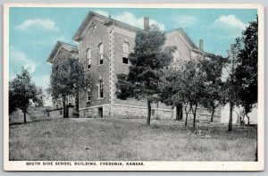 Fredonia Kansas~Trees on Grounds South Side of School~BlueSky~Quoins~1920s PC