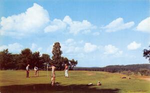Crystal Falls Michigan~Country Club Golf Course~Golfers on 9th Green~1957 PC