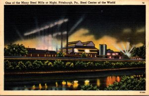 Pennsylvania Pittsburgh One Of Many Steel Mills At Night