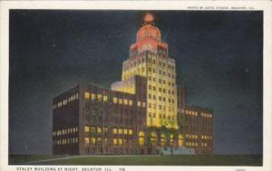 Illinois Decatur Staley Building At Night Curteich