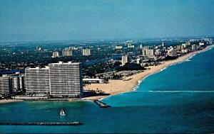 Florida Fort Lauderdale Aerial View From Entrance To Port Everglades