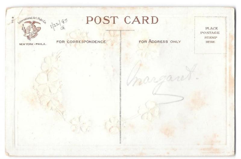 Good Wishes Coralene Glass Beaded Tree Vintage Postcard
