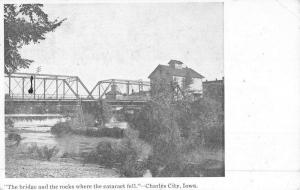 Charles City Iowa Bridge Falls Street View Antique Postcard K50047