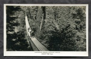 dc220 - Canada VANCOUVER BC Suspended Bridge Capilano Canyon Real Photo Postcard