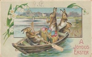 EASTER, 1909; A Joyous Easter, Gour Rabbits in a rowboat with colorful eggs