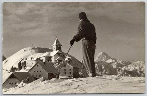 Udine Italy~Skiier Atop Santuario Monte Lussar @ Tarvisio Ski Resort~RPPC 1940s