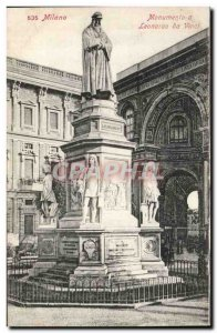 Old Postcard Italy Italia Milano Monumento a Leonardo da Vinci
