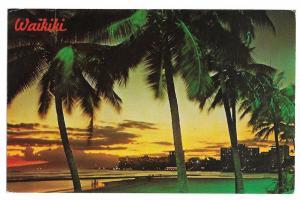 Hawaii Waikiki Beach Sunset Dusk Vtg Postcard HI