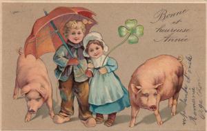 Pigs , 2 kids , Shamrock & Umbrella , 1908 ; PFB 6174