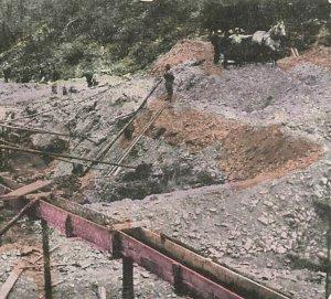 Alluvial Gold Mine Australia Pit Men Horse c1910  P229