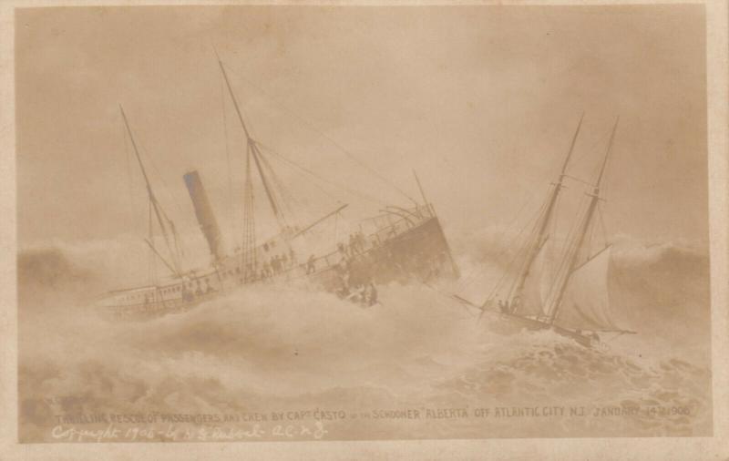RP: ATLANTIC CITY , New Jersey , 1900-10s Shipwreck Schooner ALBERTA
