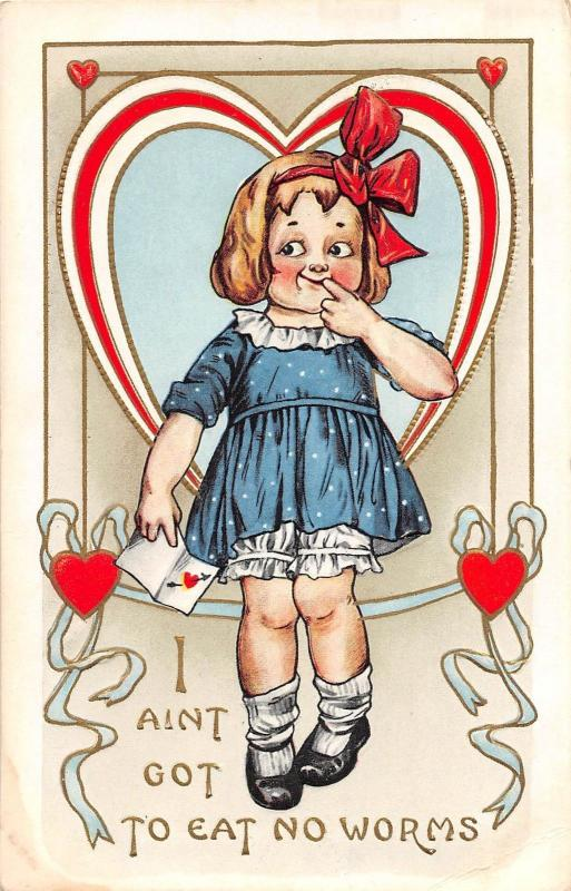 B95/ Valentine's Day Love Holiday Postcard c1910 Whitney Made Girl No Worms! 11