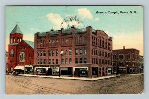 Dover NH-New Hampshire Masonic Temple, Vintage c1917 Postcard