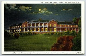 Highlands North Carolina~Country Club Night Lights~Full Moon~1940 Linen Postcard