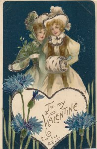 Two young ladies, To My VALENTINE inside heart, 1907