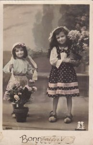 RP: BIRTHDAY, 1910-20s; Bonne Fete, Girls with potted flowers
