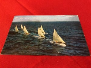 1957 postcard RACING OFF MARBLEHEAD MA 6 Sailboats, to Alan Creamer in Holden MA