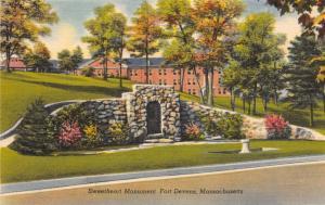 FORT DEVENS MASSACHUSETTS SWEETHEART MONUMENT AN OLD LANDMARK POSTCARD c1940s