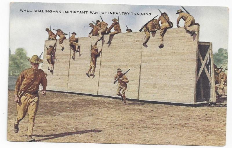 WWI Army Infantry Training Wall Scaling Underwood Postcard