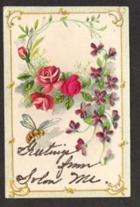 ME Greetings From SOLON MAINE Postcard Old Flowers PC