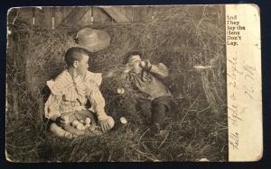 Postcard Used 2 boys eating eggs Marietta OH LB